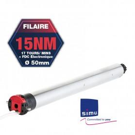 Moteur SIMU T5 AUTO électronique filaire - Ø50 mm - 15 Nm - 17 tr/mn