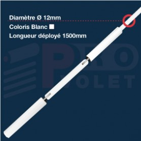 Tringle oscillante blanche Ø12 mm | Largeur 1500mm