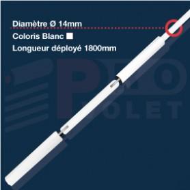 Tringle oscillante Blanche Ø14 mm | Largeur 1800mm