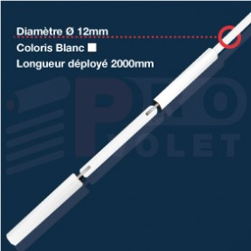 Tringle oscillante blanche Ø12 mm | Bras 180mm | Largeur 2000mm