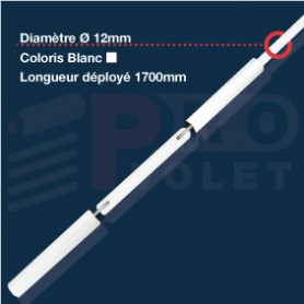 Tringle oscillante blanche Ø12 mm | Largeur 1700mm