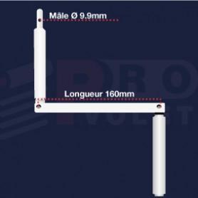 Manivelle Aluminium blanche| Pion mâle Ø9.9mm | Largeur 160 mm