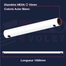 Tringle (seule) Acier blanc | Hexa 10mm | Longueur 1000mm