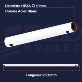 Tringle (seule) Acier blanc | Hexa 10mm | Longueur 2000mm