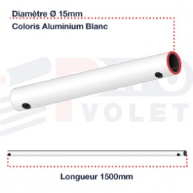 Tringle (seule) Aluminium blanc Ø15mm | 1500mm