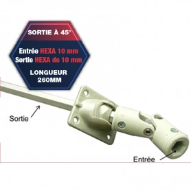 Sortie de caisson à 45° - Entrée hexa de 10 mm - Sortie hexa de 10 mm - Longueur 260 mm
