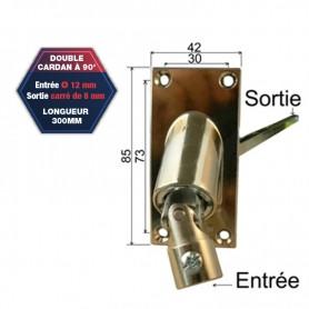Double cardan à 90° - Entrée Ø 12 mm - Sortie carré de 8 mm