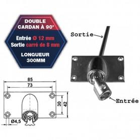 Double cardan à 90° embase horizontale - Entrée Ø 12 mm - Sortie carrée de 8 mm- Longueur 300 mm