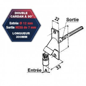 Double cardan à 90° coloris blanc - Entrée Ø 12 mm - Sortie hexagonale de 7 mm