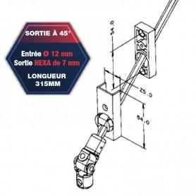Sortie de caisson à 45° - Entrée Ø 12 mm - Sortie hexa de 7 mm - Platine 64 x 25 mm