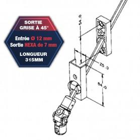 Sortie de caisson grise à 45° - Entrée Ø 12 mm - Sortie hexa de 7 mm - Longueur 315 mm