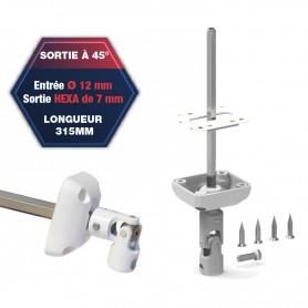 Sortie de caisson à 45° - Entrée Ø 12 mm - Sortie hexa de 7 mm - Platine 44 x 50 mm