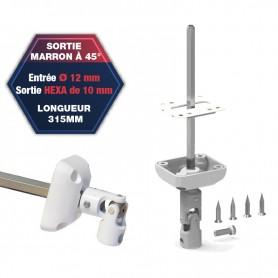 Sortie de caisson à 45° - Entrée Ø 12 mm - Sortie hexa de 10 mm - Longueur 315 mm