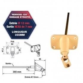 Renvois à 120° embase étroite - Entrée Ø 12 mm - Sortie hexagonale de 7 mm - Lg 355 mm