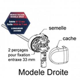 Renvoi en façade modèle droit - Entrée Ø 12 mm - Sortie hexa de 7 mm  longueur 200 mm