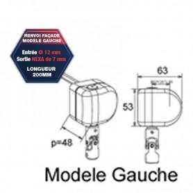 Renvoi en façade modèle gauche - Entrée Ø 12 mm - Sortie hexa de 7 mm  longueur 200 mm