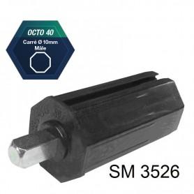 Embouts pour tube octo de 40 Carré mâle de 10 mm - Longueur 80 + 20 mm