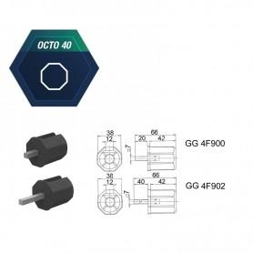 Embouts pour tube octo de 40 mm avec carré de 7 mm - LG 20mm