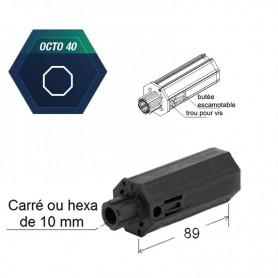 Embouts cannelés rétractiles Pour tube octo de 40 - trou central carré de 10 mm