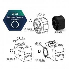 Support d'axe pour tube ZF64 pour compensateur droit