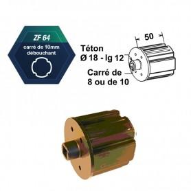 Embouts ZF64 à palier Ø18 mm Carré de 10 débouchant