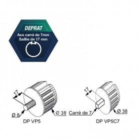 Embouts pour tube DEPRAT Ø 40 mm Axe carré de 7 saillie de 17 mm
