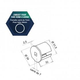Embout pour tube rond à gorge - Pour tube Ø 34 mm