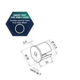 Embouts pour tube rond à gorge - Pour tube Ø 40 mm