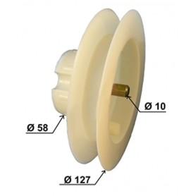 Poulie Ø 127 mm pour tube Ø 60 mm à goutte