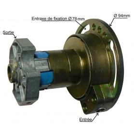Treuil débrayable gauche rapport 1/4 - Sortie tube octo de 60 mm