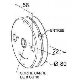 Treuil minivis épaisseur 22 mm - entrée carré de 6mm - Avec FDC