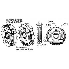 Treuil technivis entrée hexa 7 mm - avec FDC - Sortie crabot GEIGER Ø 20 mm
