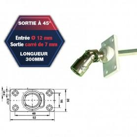 Sortie de caisson pvc à 45° - Entrée Ø 12 mm - Sortie carré de 7 mm - Longueur 300 mm