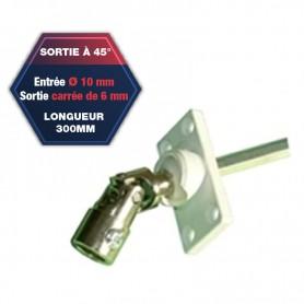 Sortie de caisson pvc à 45° - Entrée Ø 10 mm - Sortie carré de 6 mm - Longueur 300 mm