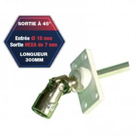 Sortie de caisson pvc à 45° - Entrée Ø 10 mm - Sortie hexa de 7 mm - Longueur 300 mm