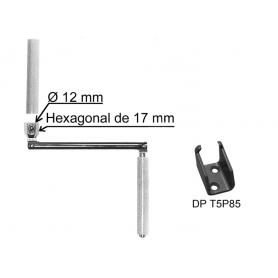 Manivelles acier pour tringle Ø 12 - bras rond de 190 mm - poignée gris clair