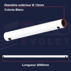 Tringle acier gainé PVC coloris blanc Ø13 mm | Lg 2000mm