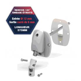 Renvois embase large - Entrée Ø 12 mm - Sortie carré de 6mm - Lg 575 mm