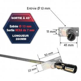 Sorties de caisson à 45° platine 3 trous 50 x 22 - Sortie hexa de 7 mm