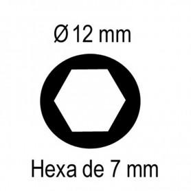 Tige de sortie Ø12 mm extérieur - hexa de 7 mm intérieur