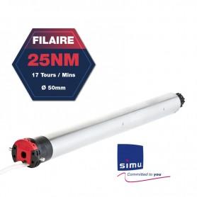 Moteur SIMU standard filaire T5 - Ø50 mm - 25 Nm - 17 tours