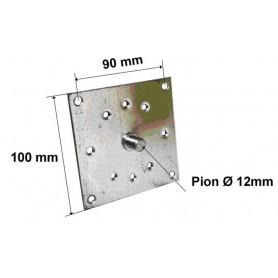 Plaque support acier pion Ø 12 mm