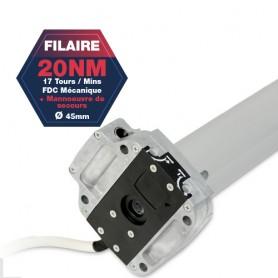 Moteur Gaposa filaire Serie 50 - 20 NM - diamètre 45mm - Commande de secours intégré