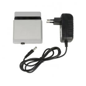 Chargeur avec adaptateur, dans le cas de batterie non munie de prise de rechargement