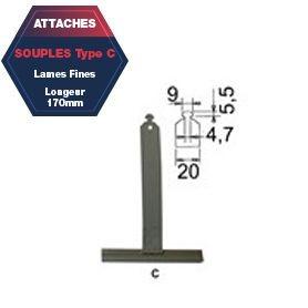 Attache C de tablier aluminium plastifié Lg 170 mm lame fine