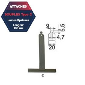 Attache C de tablier aluminium plastifié Lg 198 mm lame épaisse